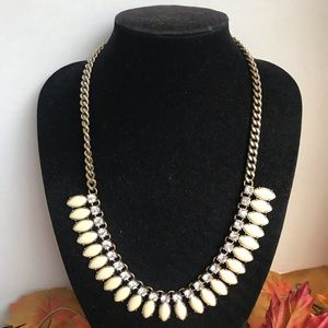 J Crew Blinged Bib Collar Necklace Creamy Bling
